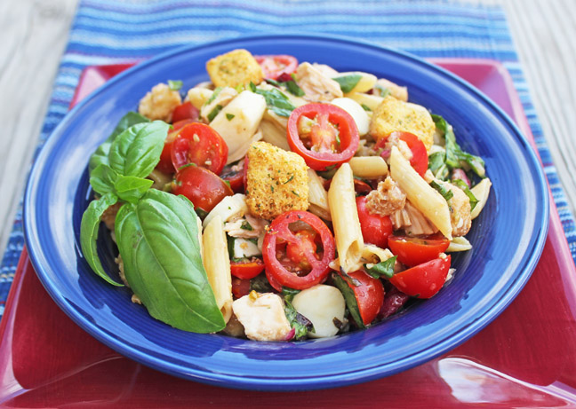 Bruschetta Chicken and Pasta Salad from Jamie Cooks It Up!!