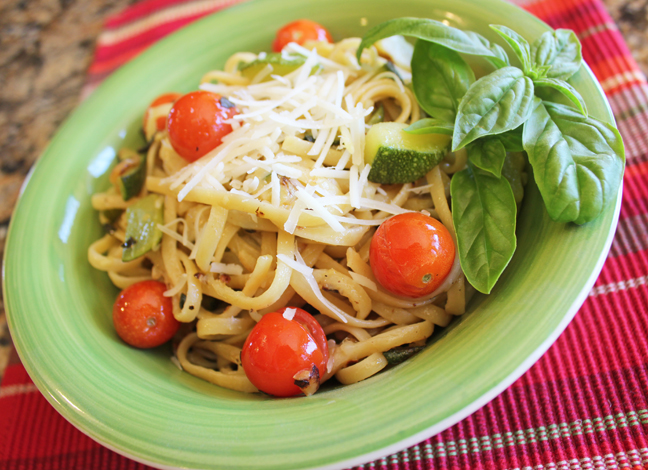Zucchini, Tomato and Basil Linguine