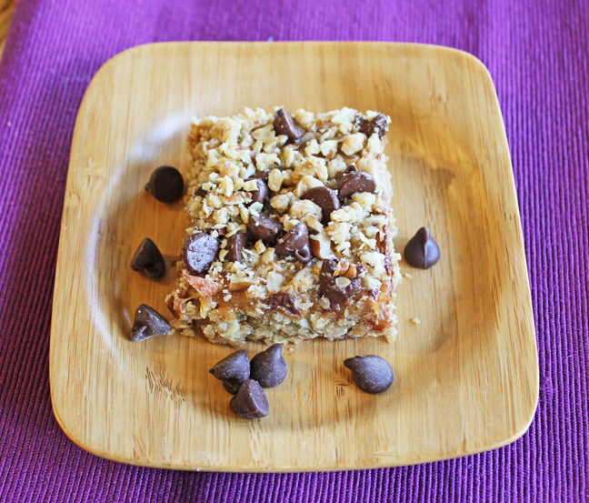 Chocolate Caramel and Oat Bars from Jamie Cooks It Up!!