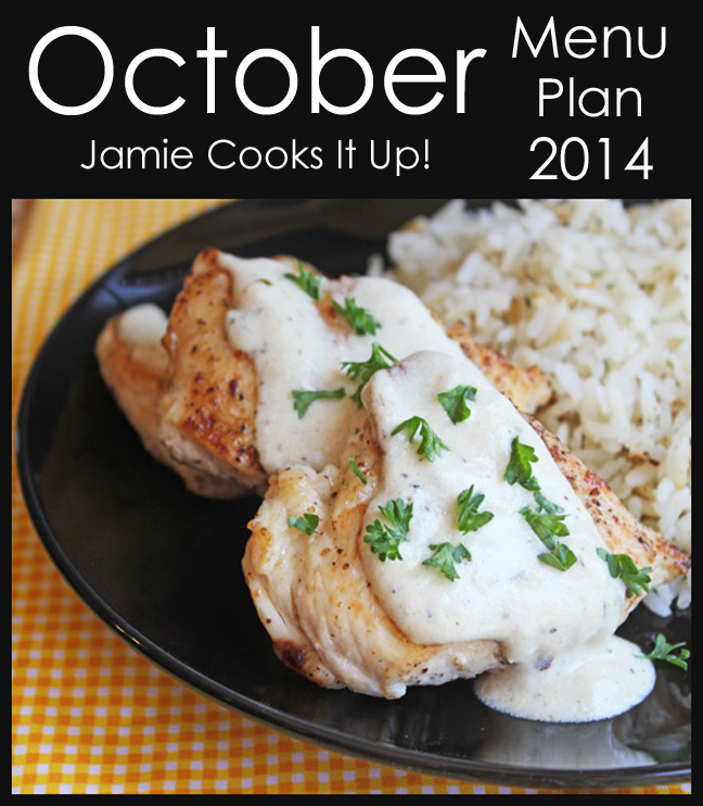 October Menu Plan 2014