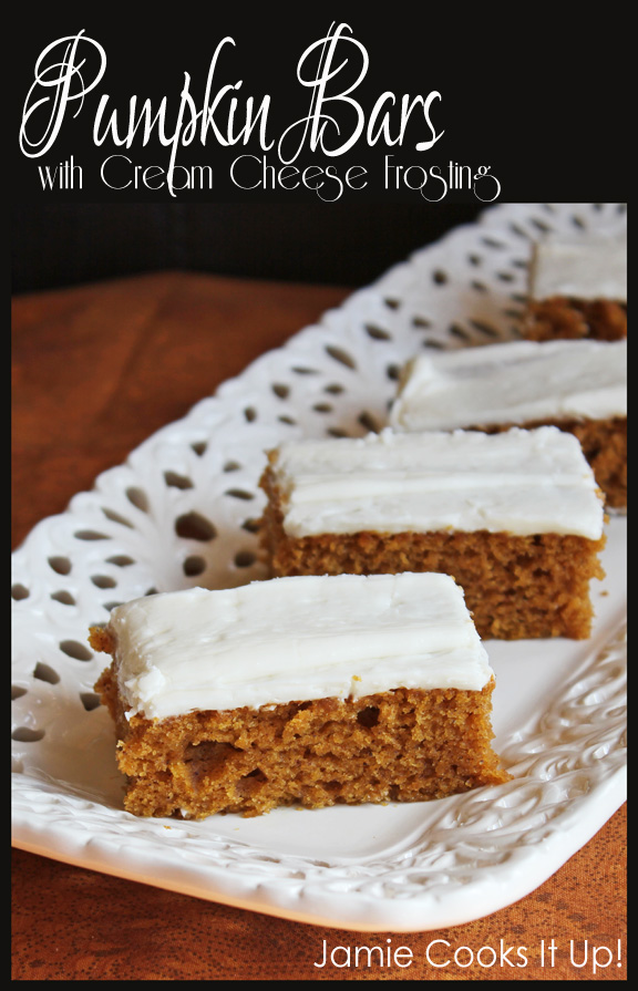 Pumpkin Bars with Cream Cheese Frosting from Jamie Cooks It Up!