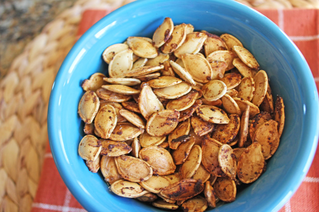 Roasted Pumpkin Seeds from Jamie Cooks It Up!!