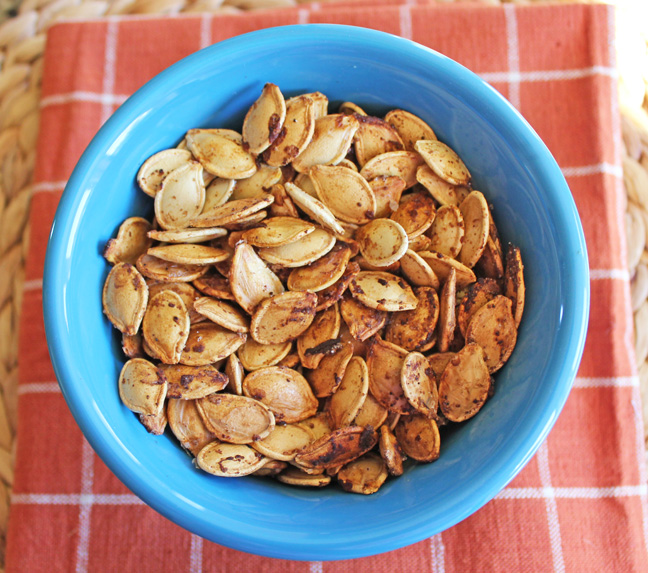 Roasted Pumpkin Seeds from Jamie Cooks It Up!