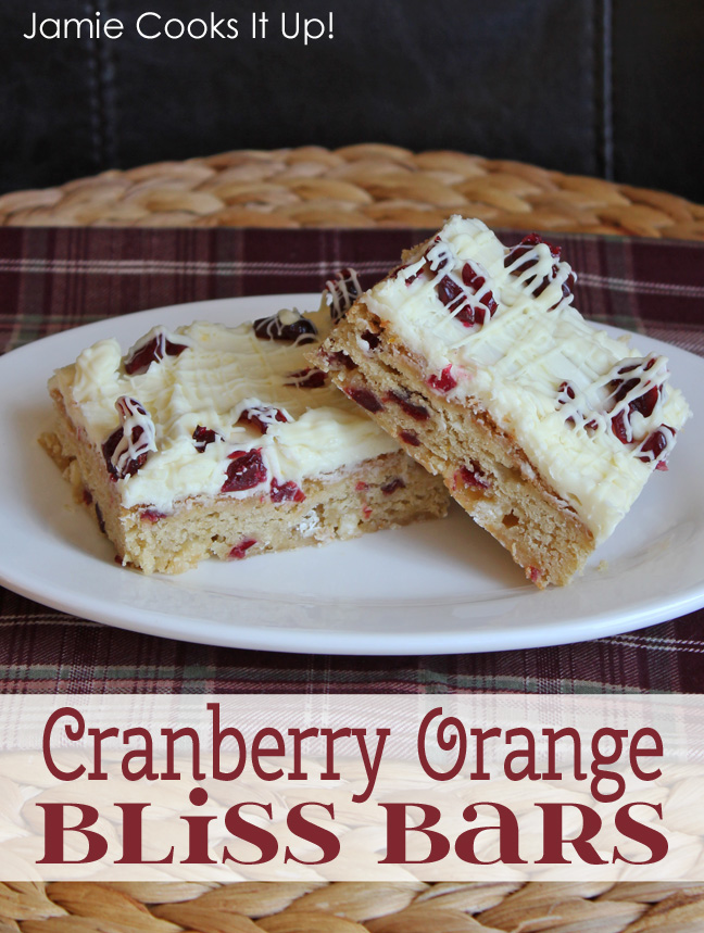 Cranberry Orange Bliss Bars from Jamie Cooks It Up!