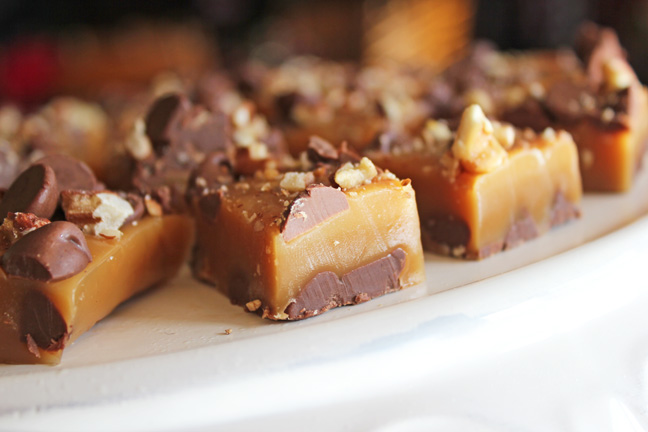 Caramels with Chocolate and Pecans from Jamie Cooks It Up!