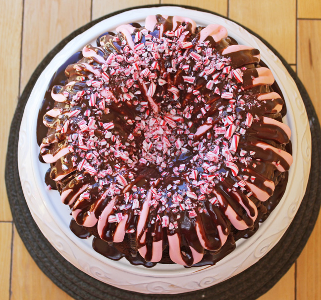 Peppermint Fudge Bundt Cake