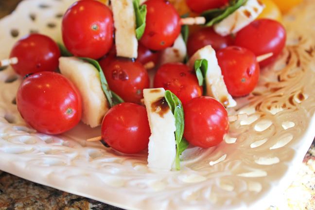Tomato Basil and Mozzarella Skewers (Caprise Bites)