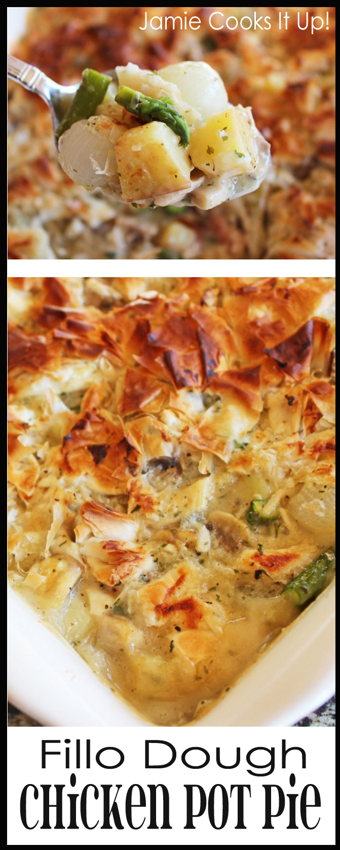 Fillo Dough Chicken Pot Pie Collage with Border