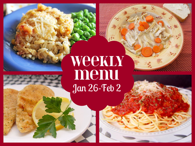 Weekly Menu Jan 26-Feb , and SUPER BOWL Recipes Ideas