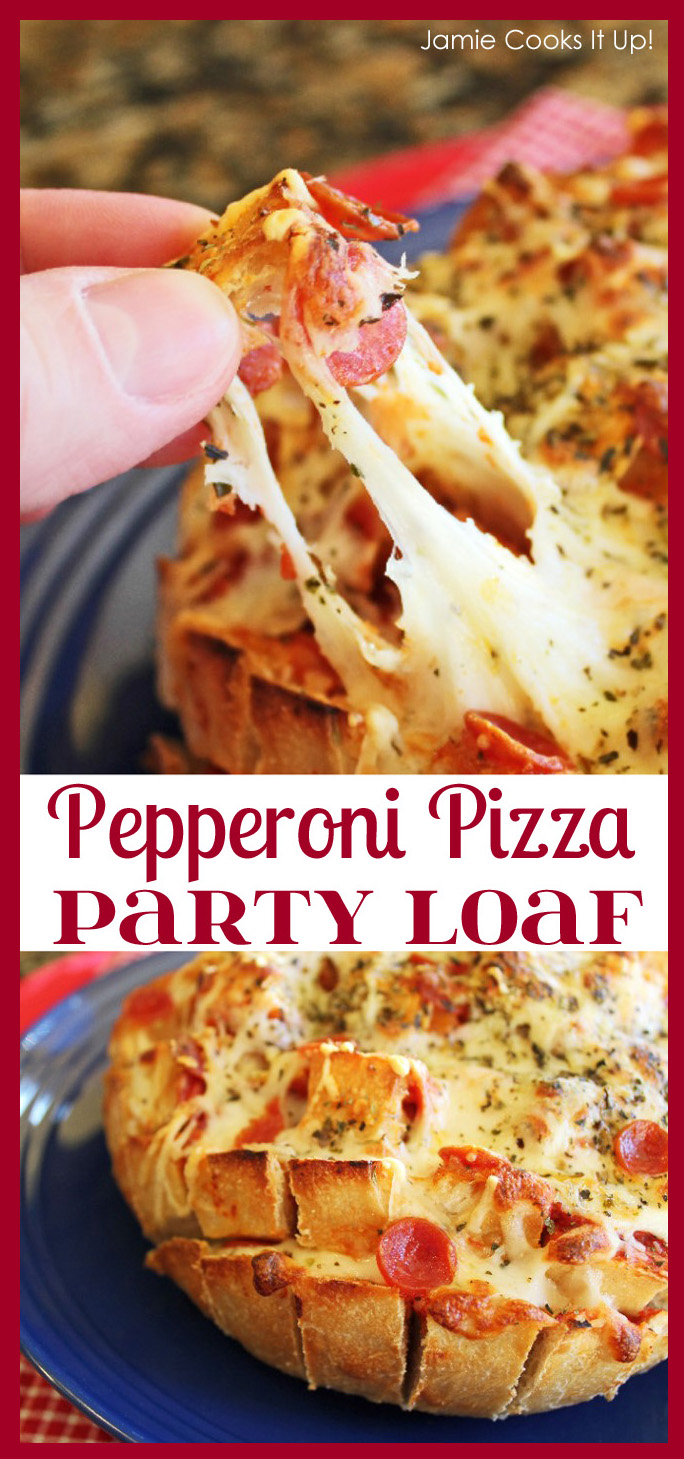 Pepperoni Pizza Party Loaf from Jamie Cooks It Up! with border