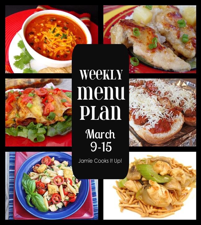 Weekly Menu Plan Mar. 9-15