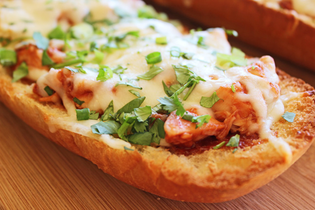 Open Faced BBQ Chicken French Bread Sandwich (20 minute dinner)
