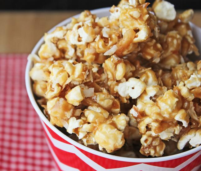 Toasted Coconut Caramel Popcorn
