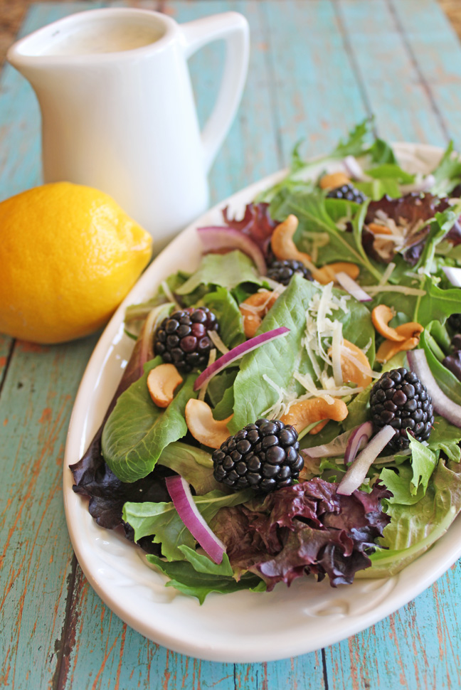 Blackberry Cashew Salad with Lemon Dressing  I  Jamie Cooks It Up!