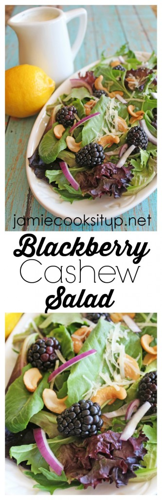 Blackberry Cashew Salad with Lemon Poppyseed Dressing from Jamie Cooks It Up!