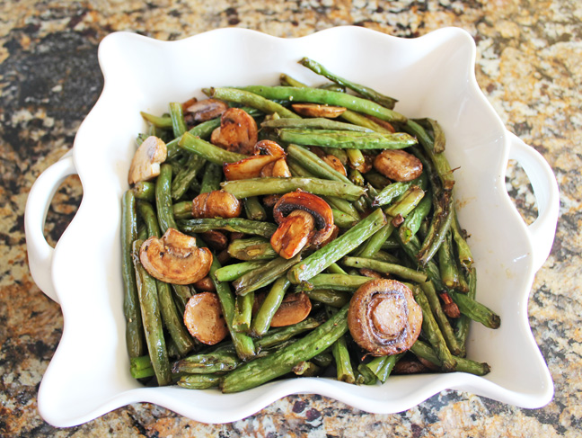 Roasted Balsamic Mushrooms and Green Beans