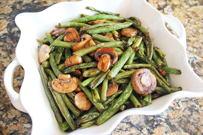 Roasted Balsamic Mushrooms and Green Beans from Jamie Cooks It Up!