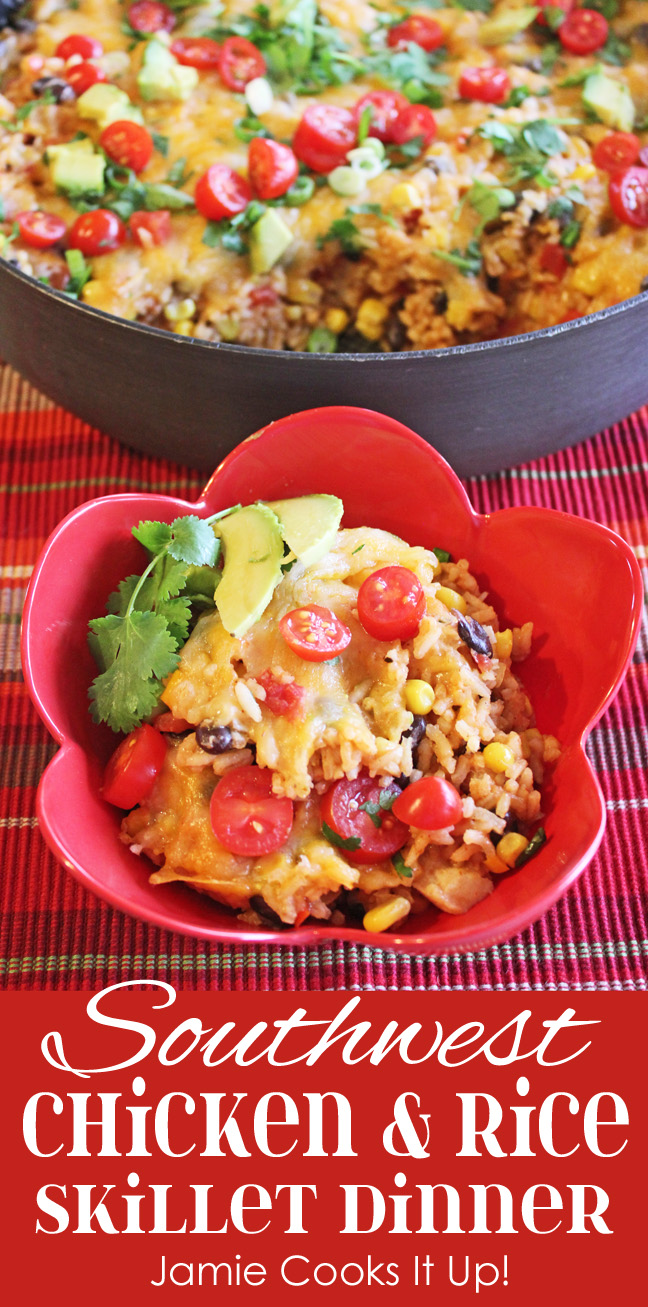 Southwest Chicken and Rice Skillet Dinner from Jamie Cooks It Up!!
