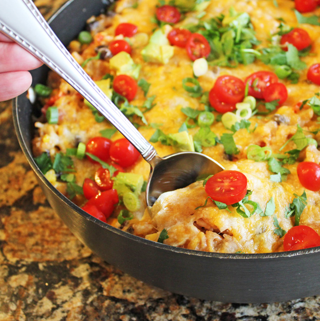 Southwest Chicken and Rice Skillet Dinner from Jamie Cooks It Up1