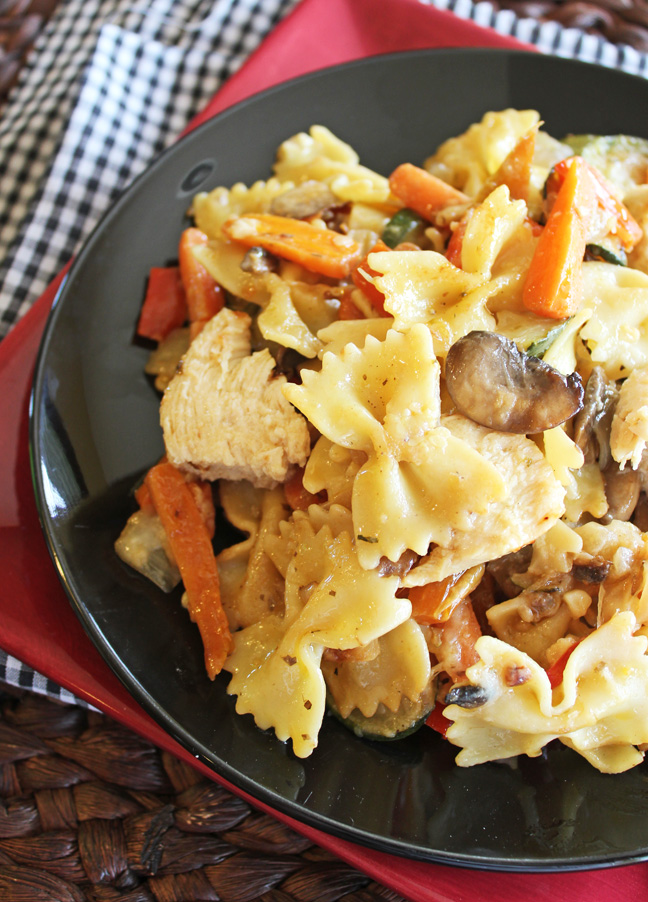 Garlic Chicken and Vegetable Bowtie Pasta from Jamie Cooks It Up!