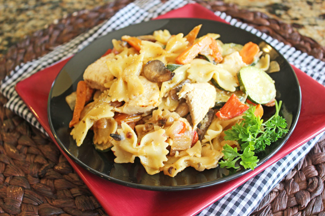 Garlic Chicken and Vegetable Bowtie Pasta
