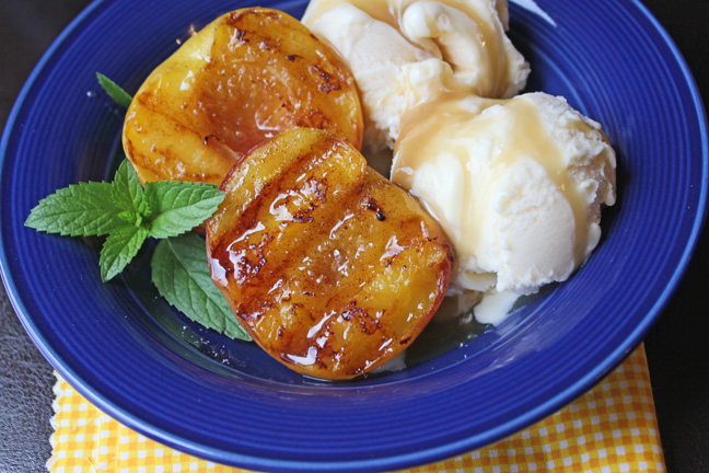 Grilled Peaches and Homemade Caramel Sauce