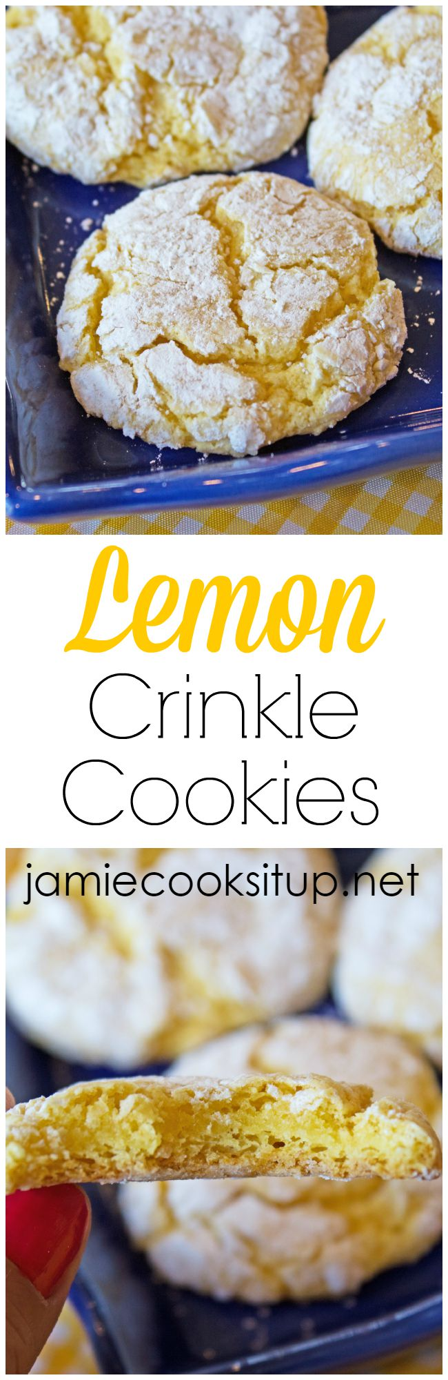 Lemon Crinkle Cookies from Jamie Cooks It Up