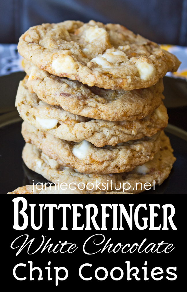 Butterfinger White Chocolate Chip Cookies from Jamie Cooks It Up!