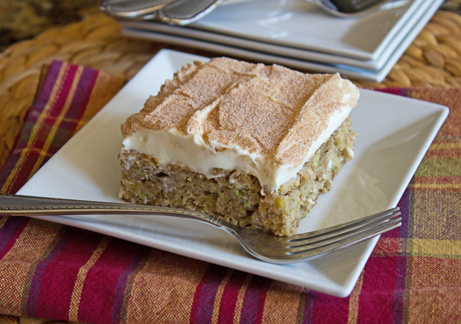 Cinnamon Zucchini and Banana Cake with Cream Cheese Frosting