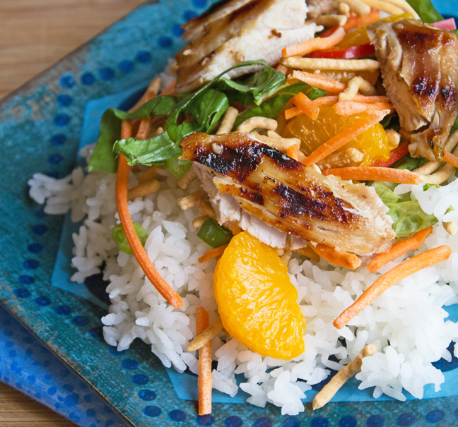 Grilled Teriyaki Chicken Salad with Sweet Teriyaki Vinaigrette from Jamie Cooks It Up!