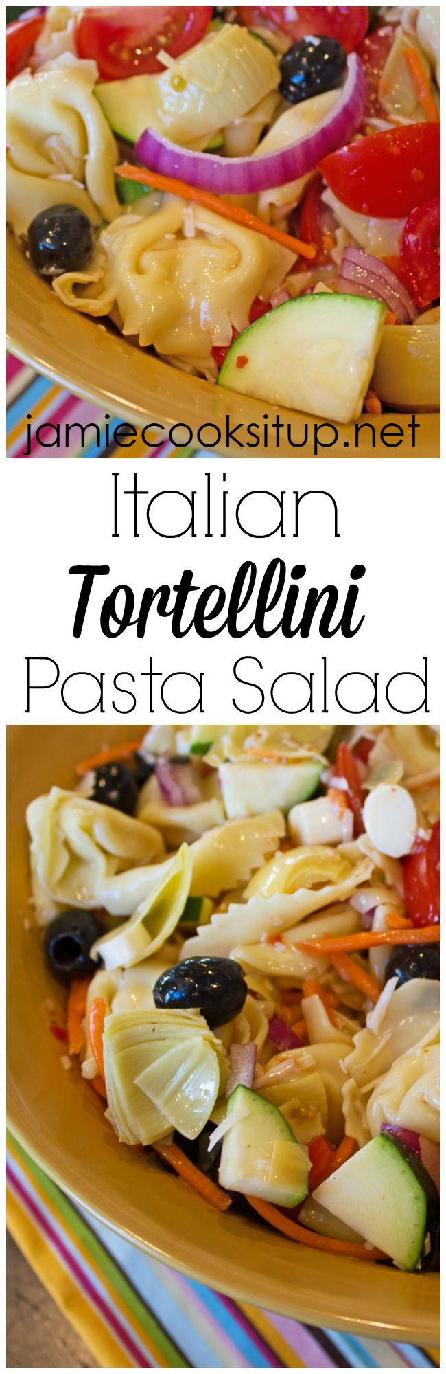 Italian Tortellini Pasta Salad from Jamie Cooks It Up!