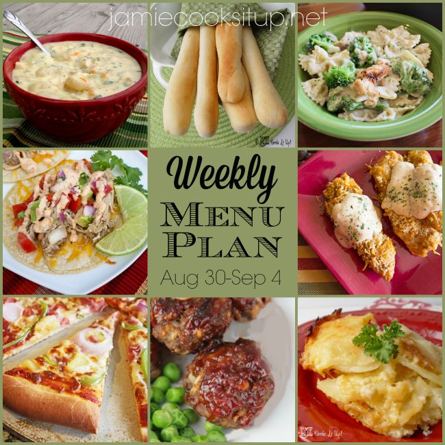 Weekly Menu Plan: August 30-Sept 4