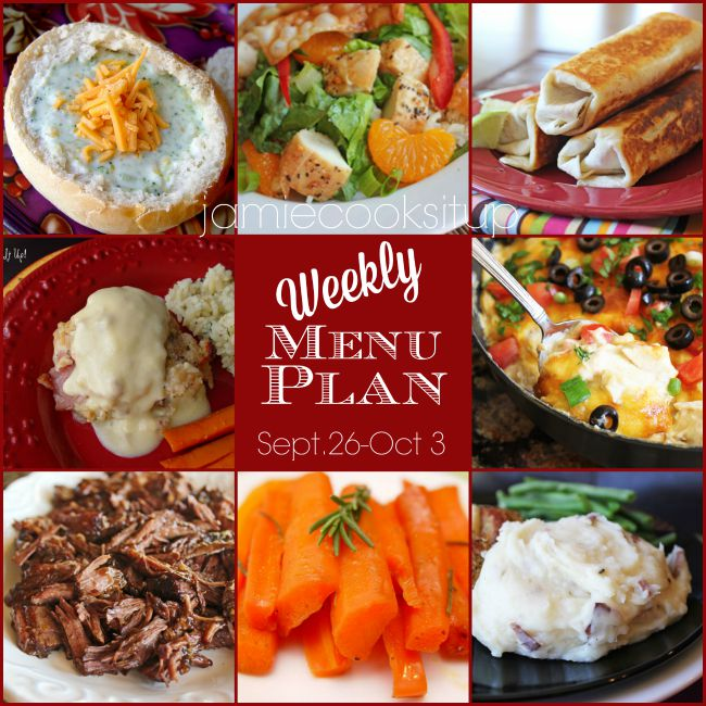 Weekly Menu Plan: Sept 26 – Oct 3