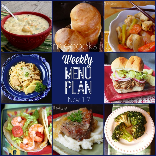 Weekly Menu Plan: November 1-7