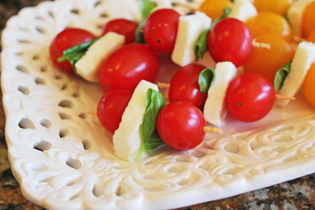Tomato Basil and Mozzarella Skewers