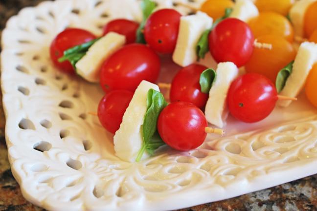 Tomato Basil and Mozzarella Skewers
