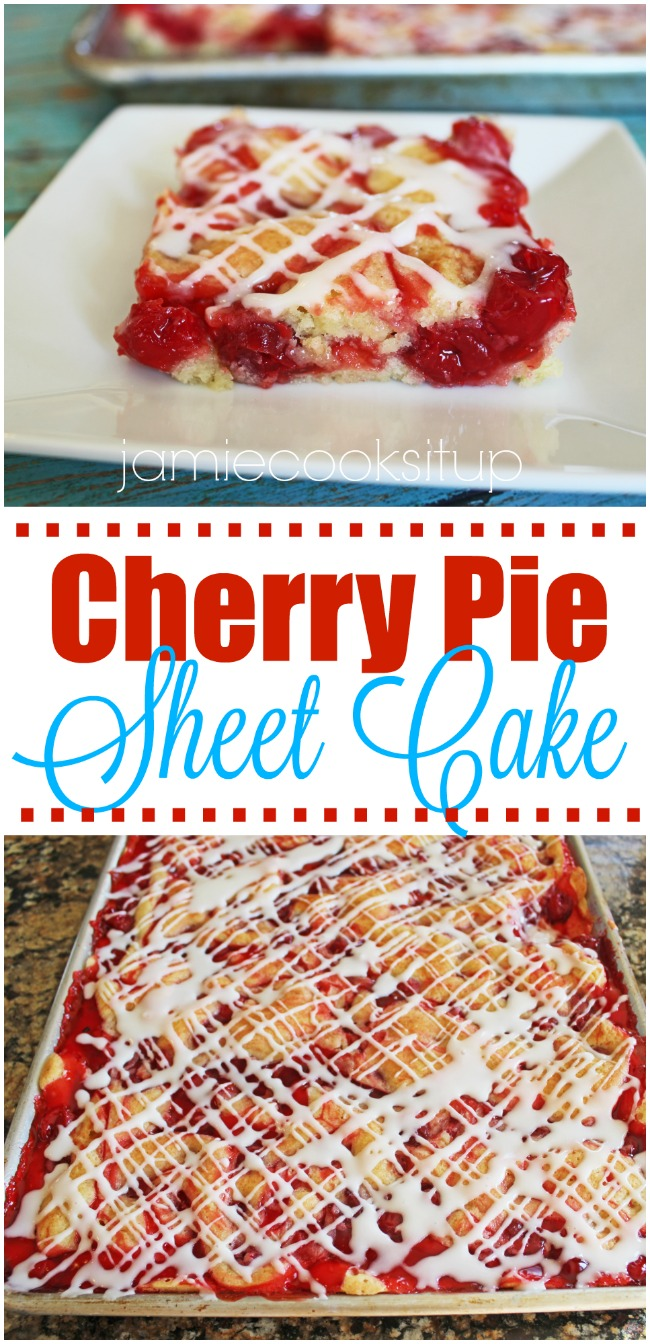 Cherry Pie Sheet Cake at Jamie Cooks It Up!