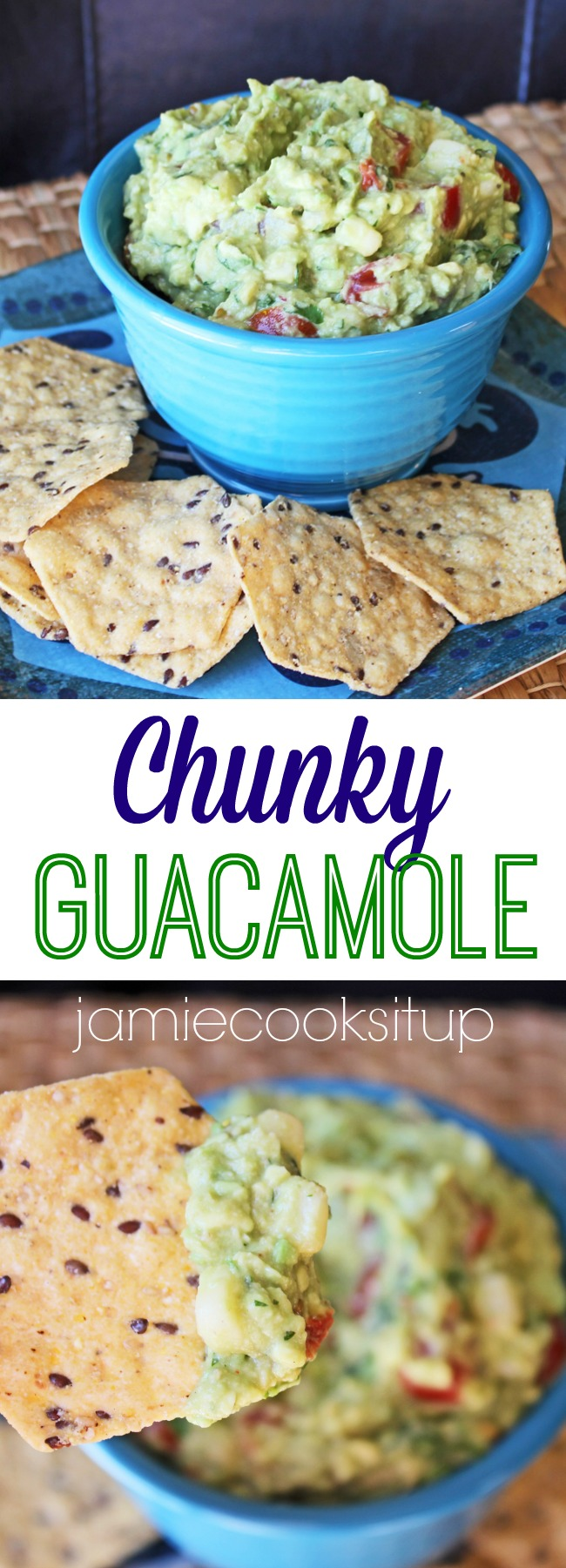 Chunky Guacamole Recipe from Jamie Cooks It Up!