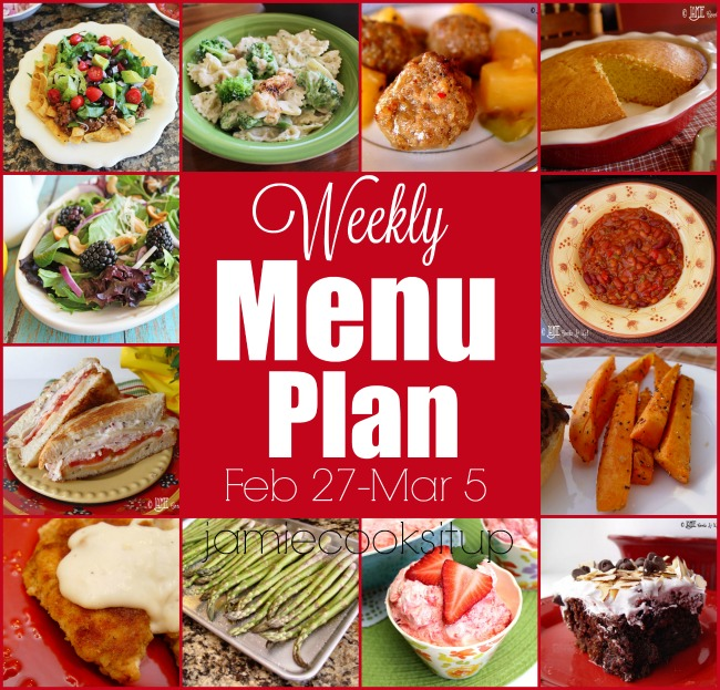 Weekly Menu Plan: Feb 27-Mar 5