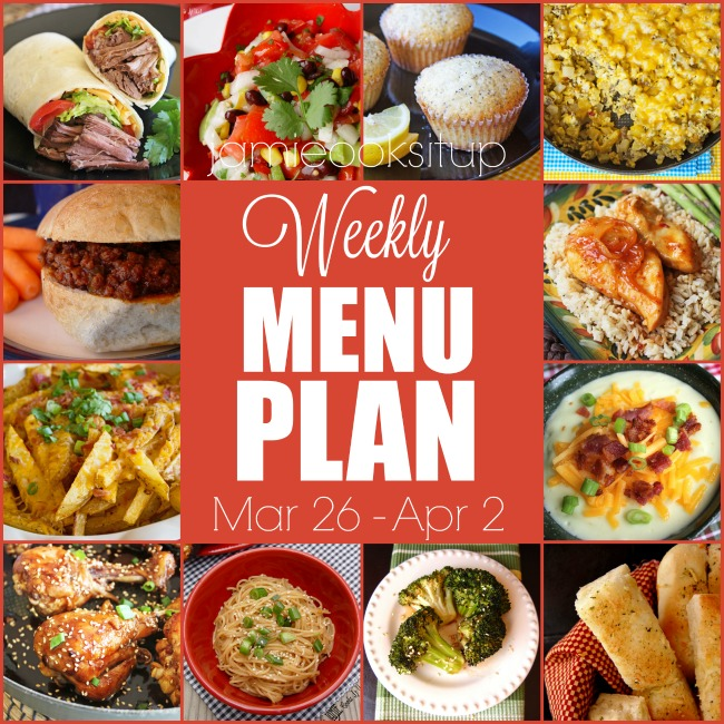Weekly Menu Plan: Mar 26 – April 2