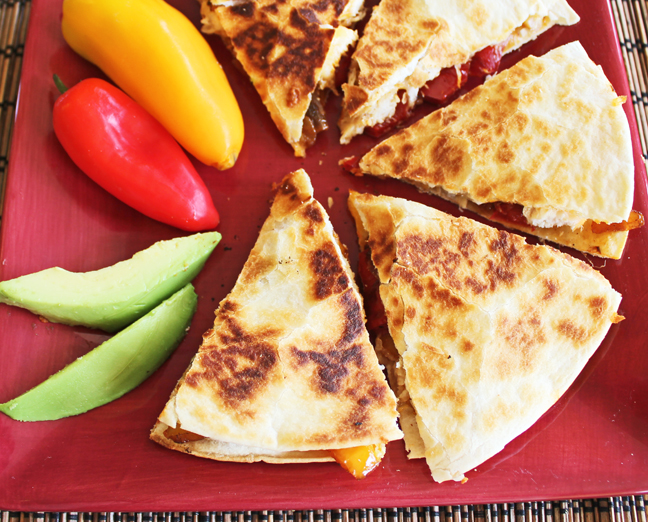 Grilled Chicken and Pepper Quesadillas