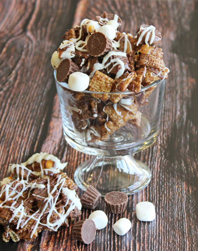 Loaded Peanut Butter Cup Caramel Chex Mix