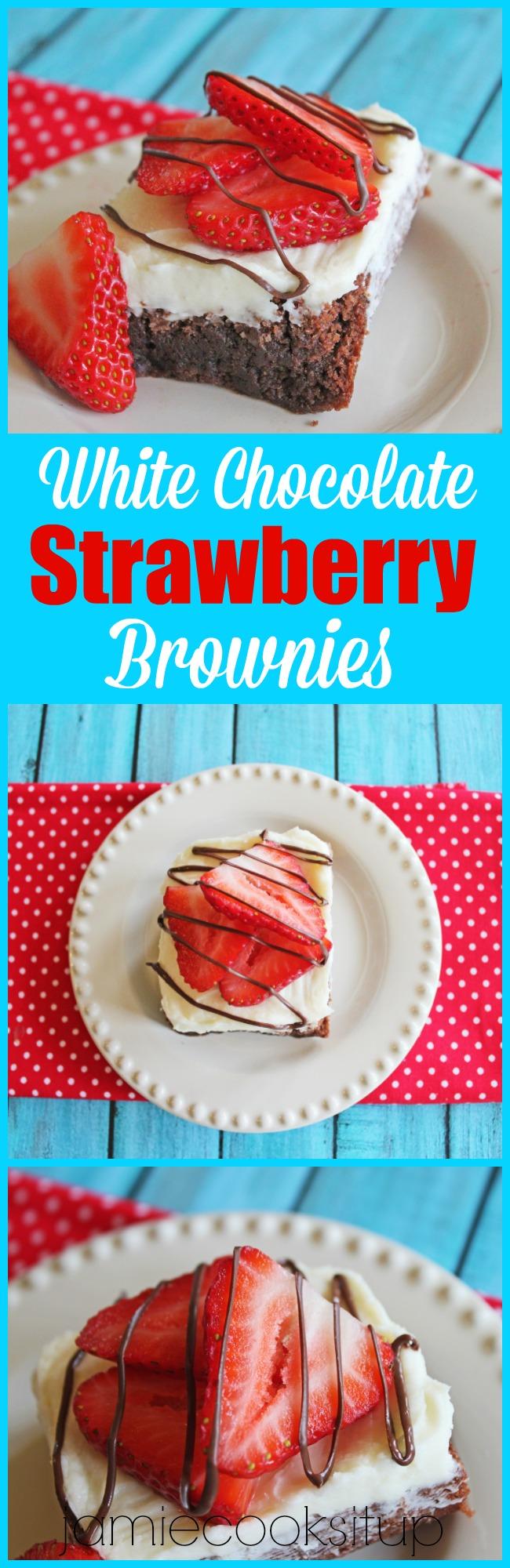 White Chocolate Strawberry Brownies Jamie Cooks It Up!