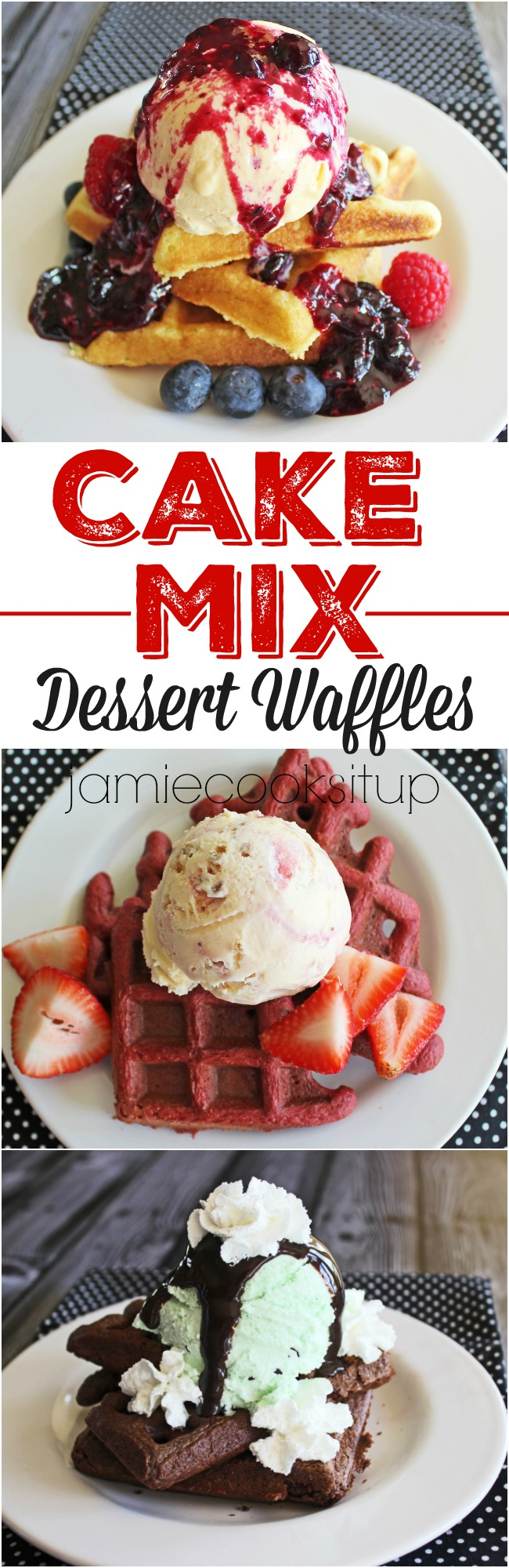 Cake Mix Dessert Waffles from Jamie Cooks It Up!