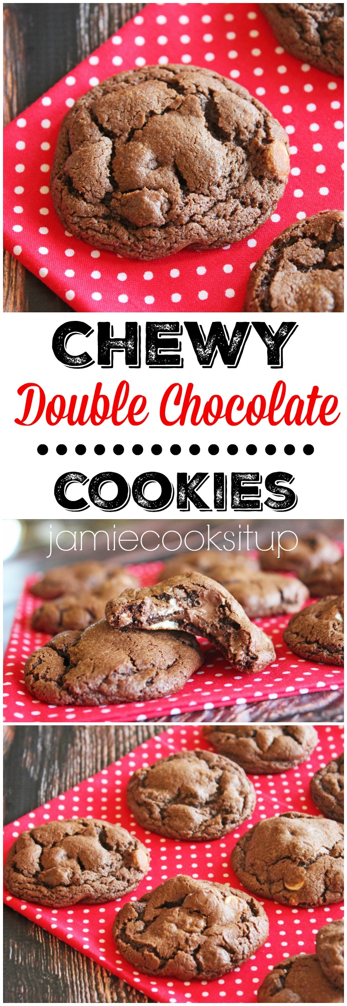 Chewy Double Chocolate Cookies from Jamie Cooks It Up!