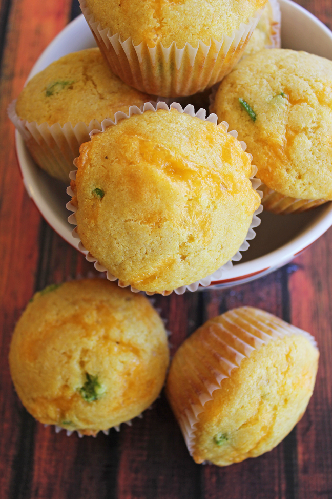 Jalapeno Cheddar Corn Muffins at Jamie Cooks It Up!