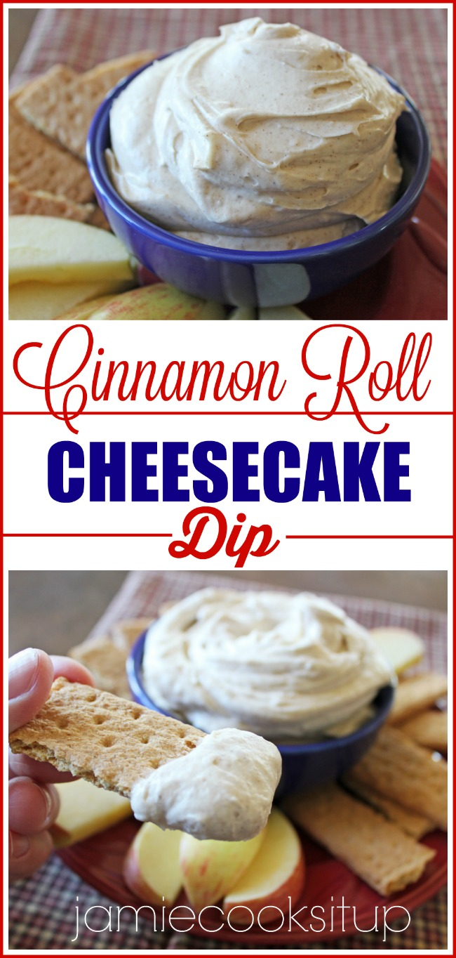 Cinnamon Roll Cheesecake Dip from Jamie Cooks It Up!