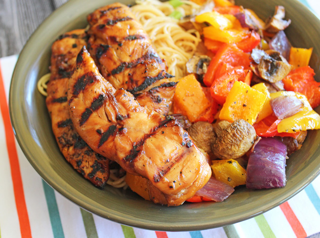 Grilled Sesame Chicken and Noodle Bowl at Jamie Cooks It Up!