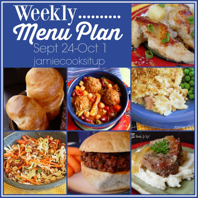 Weekly Menu Plan, Sept 24-Oct 1 with Printable List
