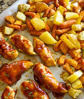 Sheet Pan BBQ Chicken and Roasted Potatoes